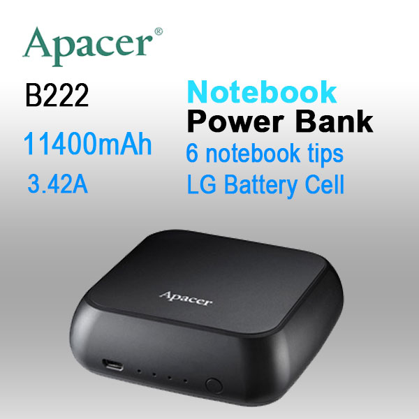 APACER mini NOTEBOOK POWER BANK B222 11400mAh with 6 tips