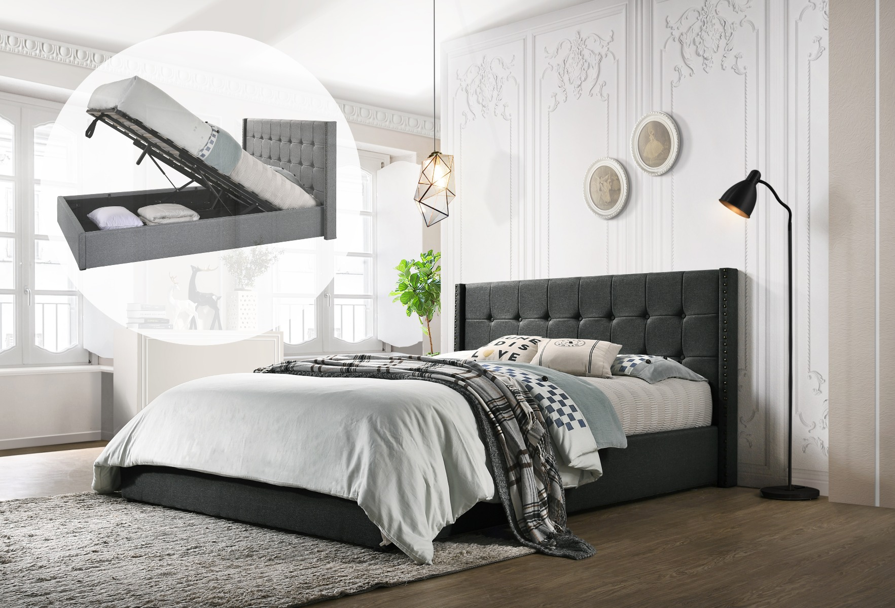 Queen Sized Winged Fabric Bed Frame with Gas Lift Storage in Charcoal