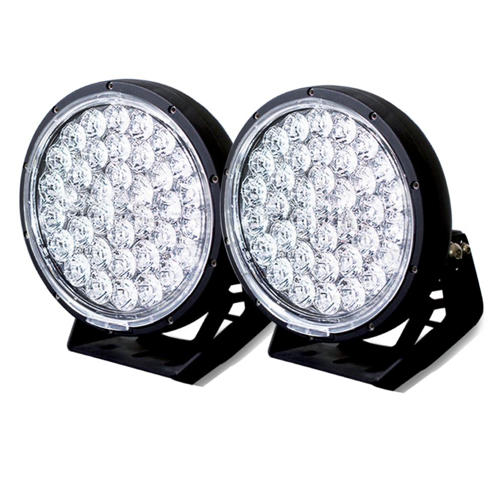 Pair 9inch 370w LED Driving Light Cree Black Round Spotlight BAR Offroad 4x4