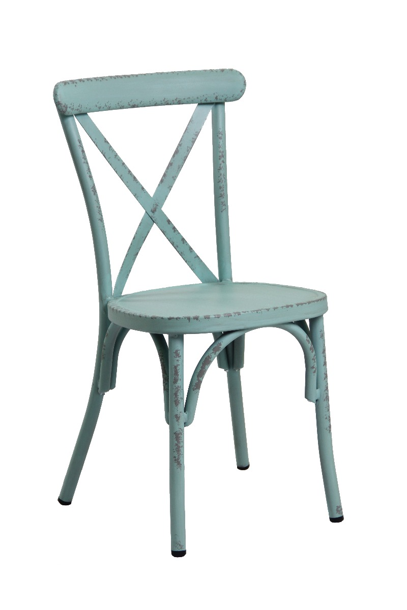 Retro Blue Aluminium Cross Back Chair Set Of 2