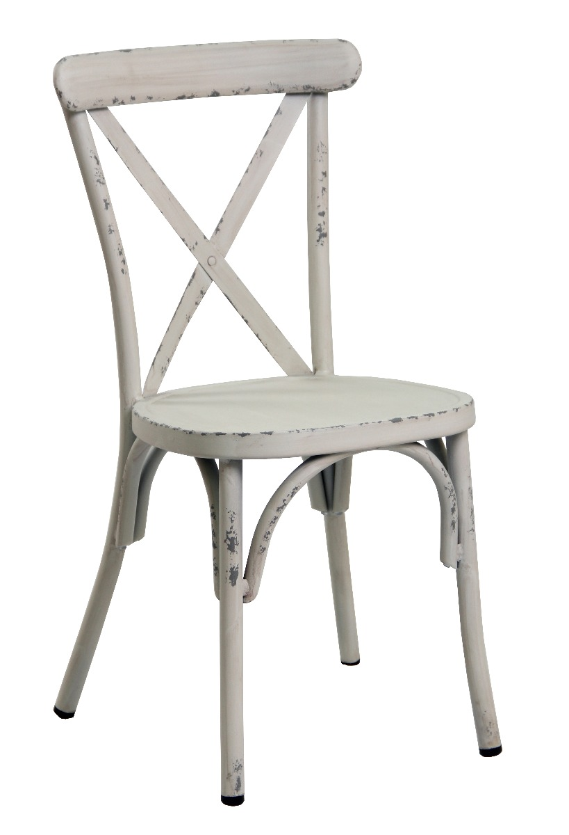 Retro White Aluminium Cross Back Chair Set Of 2