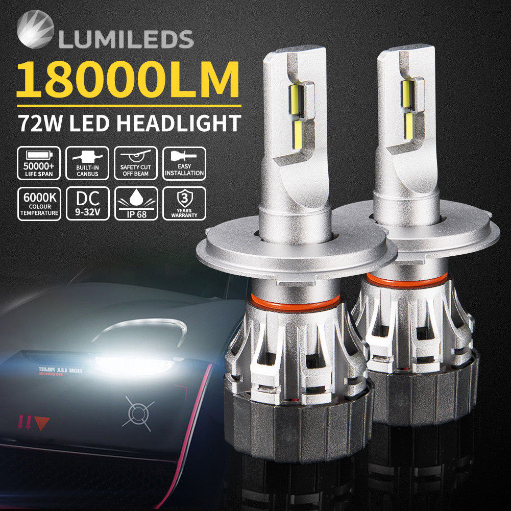 Pair LED Headlight Kit Driving Lamp CSP H4 High Low Beam Canbus ERROR FREE