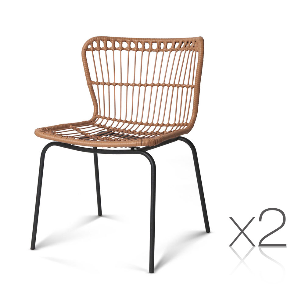 Artiss Set of 2 PE Wicker Dining Chair - Natural
