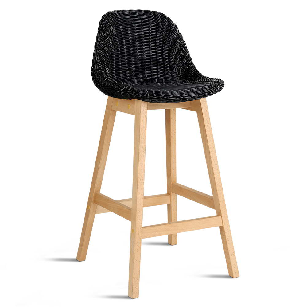Artiss Set of 2 Vera Bar Stool - Black