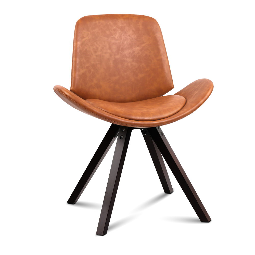 Artiss Set of 2 PU Leather Alexes Dining Chairs - Brown