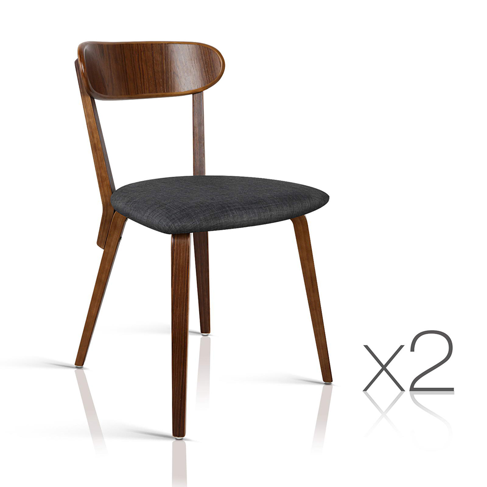 Artiss Set of 2 Wooden Dining Chairs - Charcoal