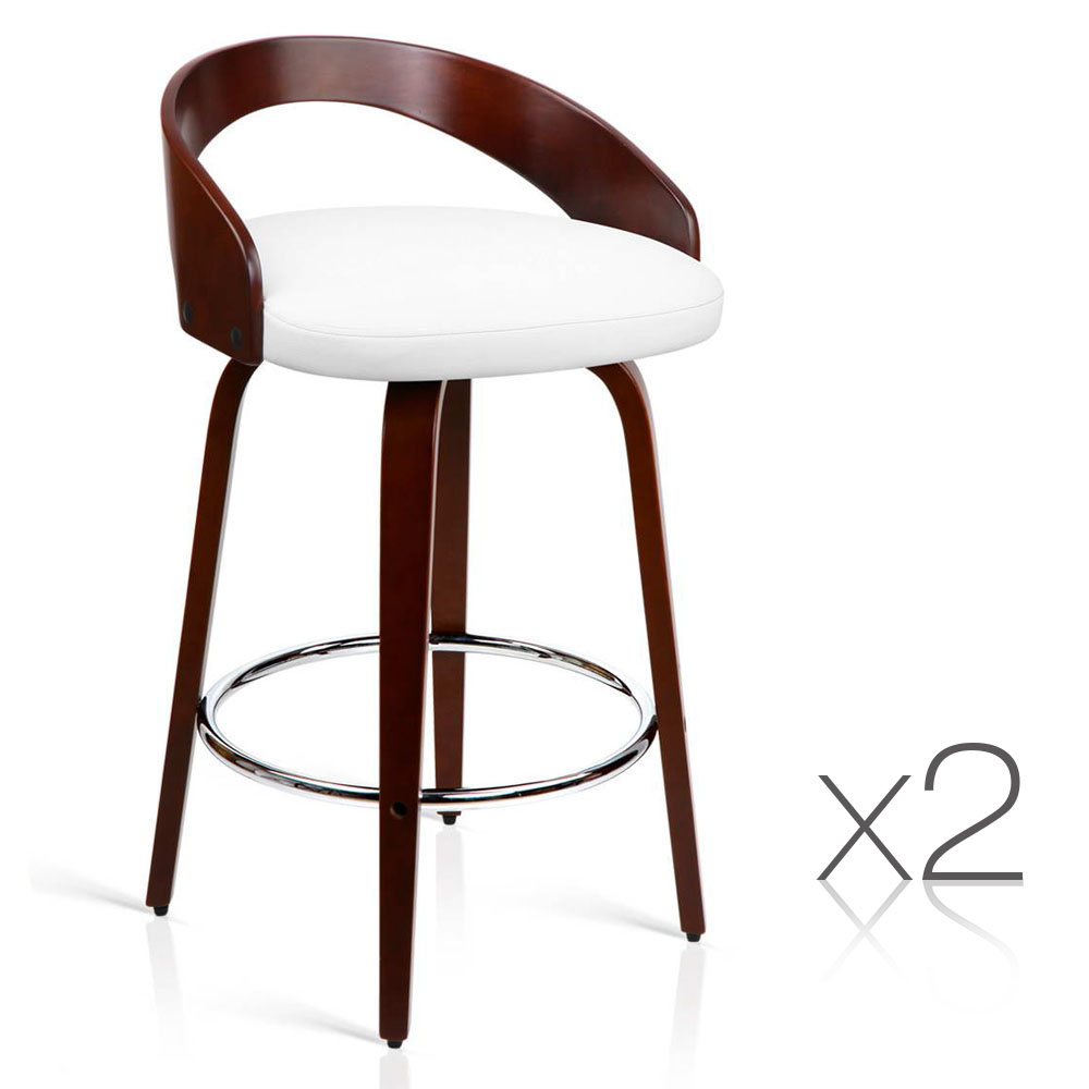 Artiss Set of 2 Wooden Bar Stools - White