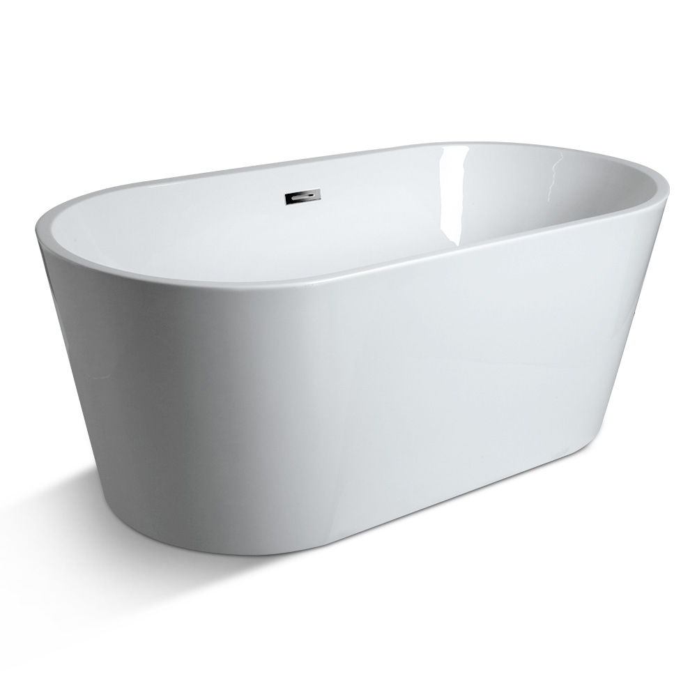 Cefito Free Standing Bath Tubs Acrylic Gloss White Bathroom SPA Tubs 150X75X58CM