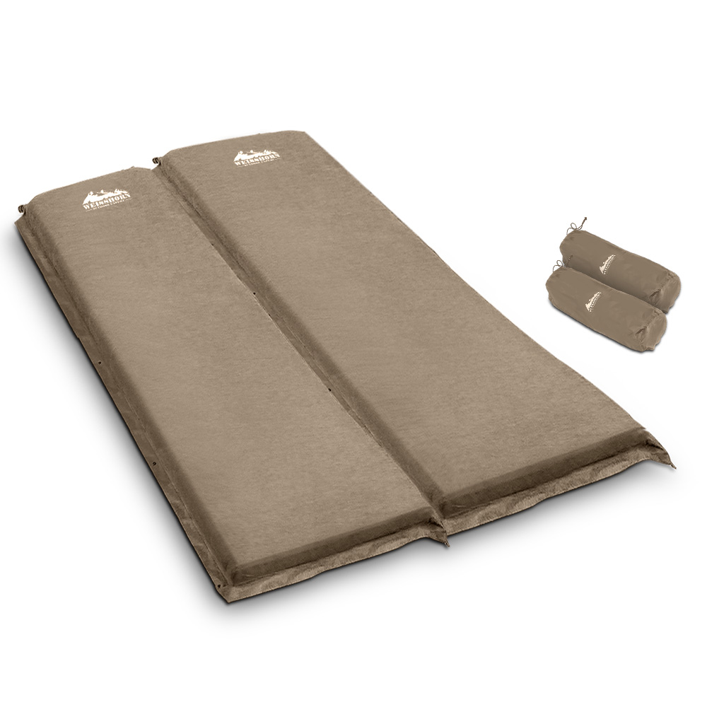 Weisshorn Double Size Self Inflating Mattress Mat Joinable 10CM Thick   Coffee