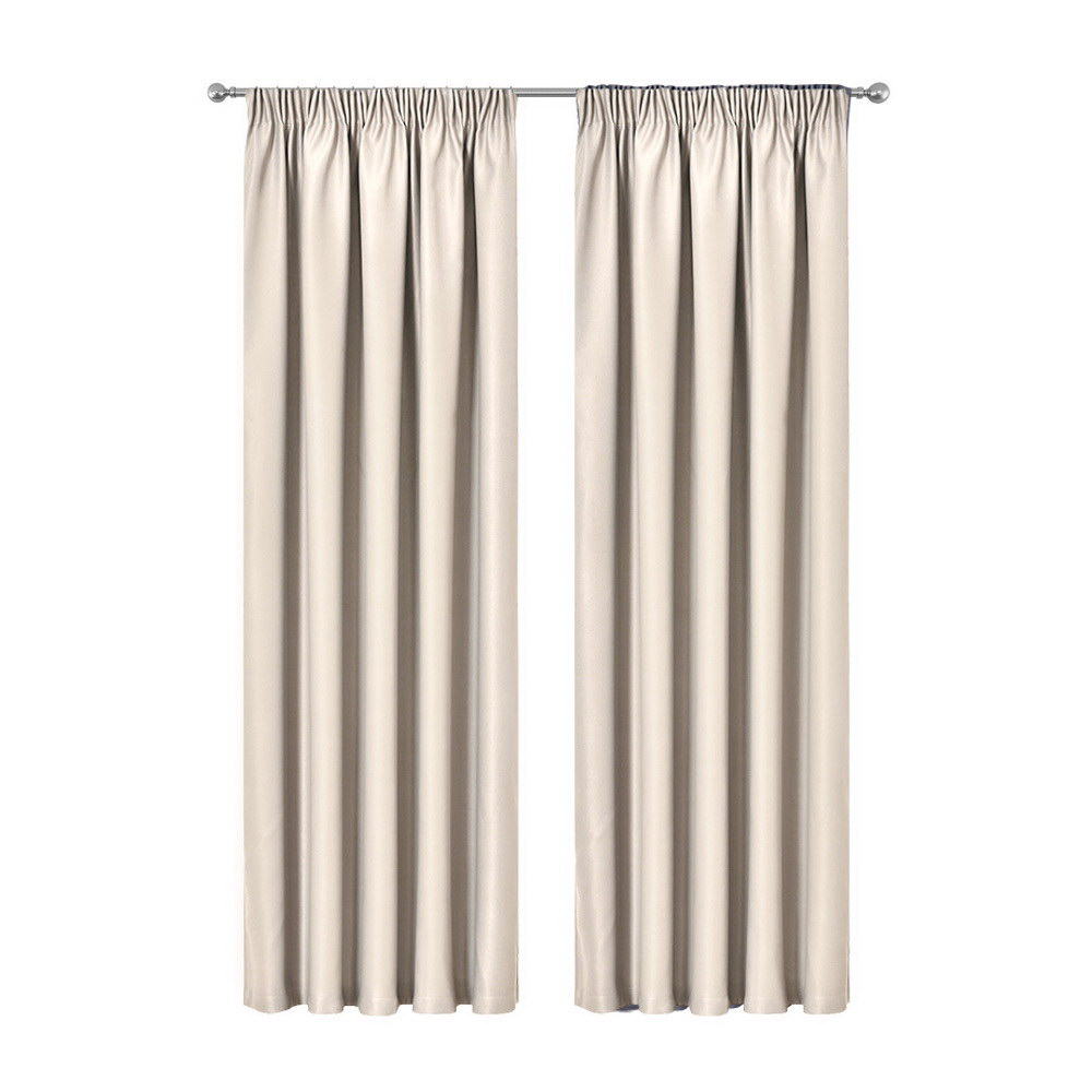 Artqueen 2X Pinch Pleat Pleated Blockout Curtains Sand 180cmx213cm