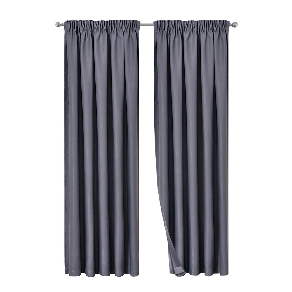 Artqueen 2X Pinch Pleat Pleated Blockout Curtains Dark Grey 240cmx213cm