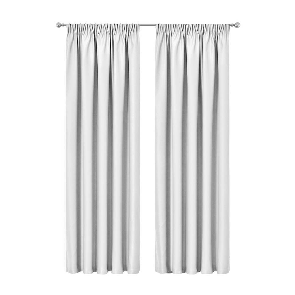 Artqueen 2X Pinch Pleat Pleated Blockout Curtains White 180cmx230cm