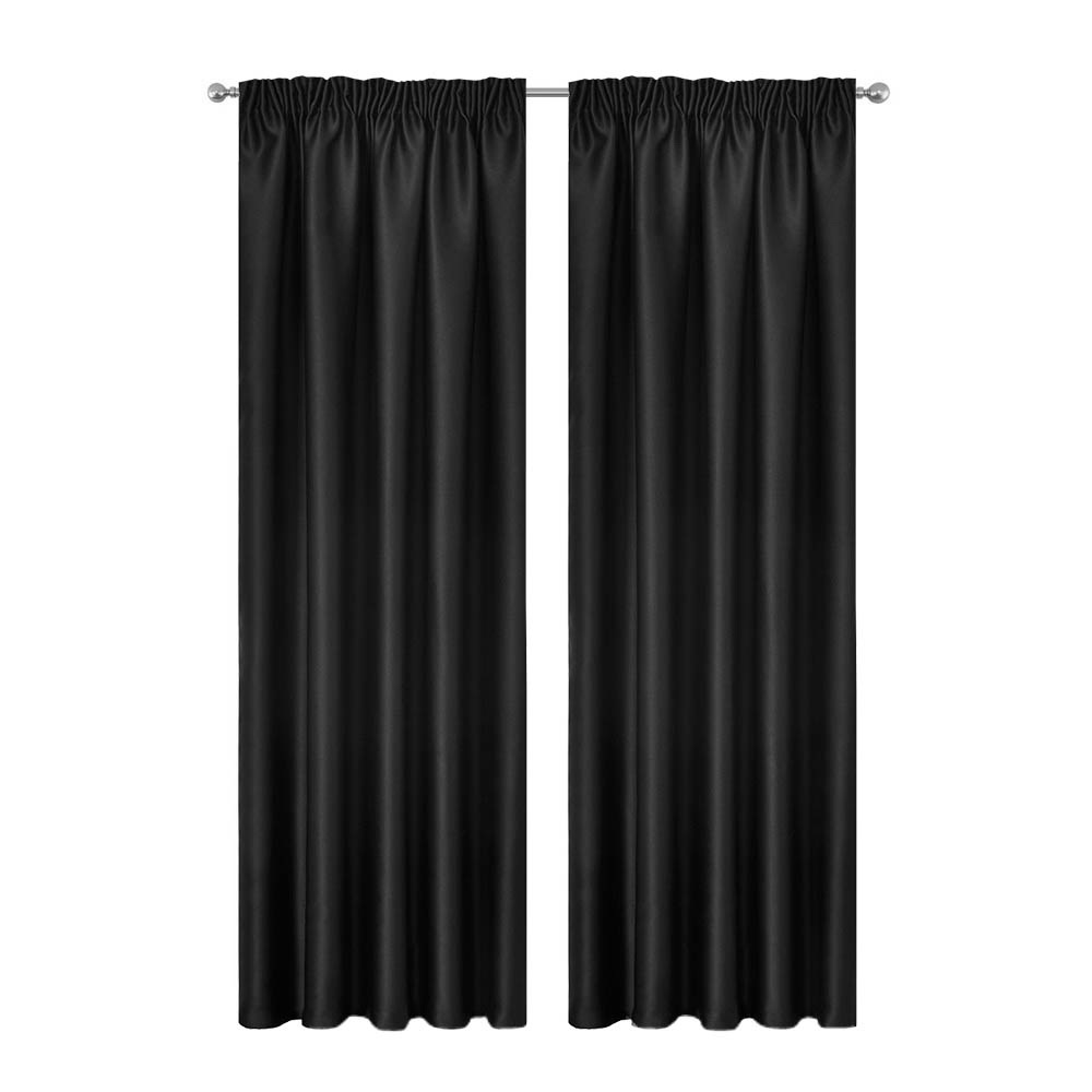 Artqueen 2X Pinch Pleat Pleated Blockout Curtains Black 300cmx230cm