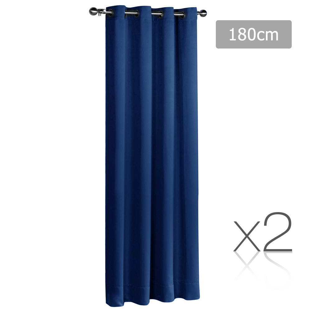 Art Queen 2 Panel 180 x 230cm Block Out Curtains - Navy