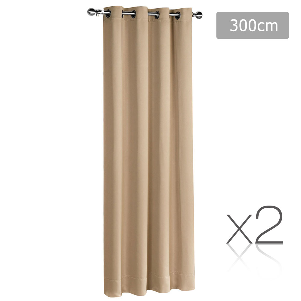 Art Queen 2 Panel 300 x 230cm Eyelet Block Out Curtains -  Latte