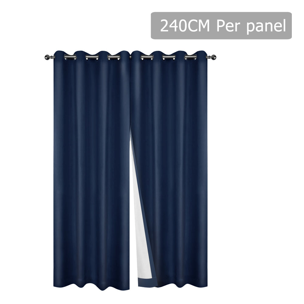 Art Queen 2 Panel 240 x 230cm Eyelet Blockout Curtains - Navy