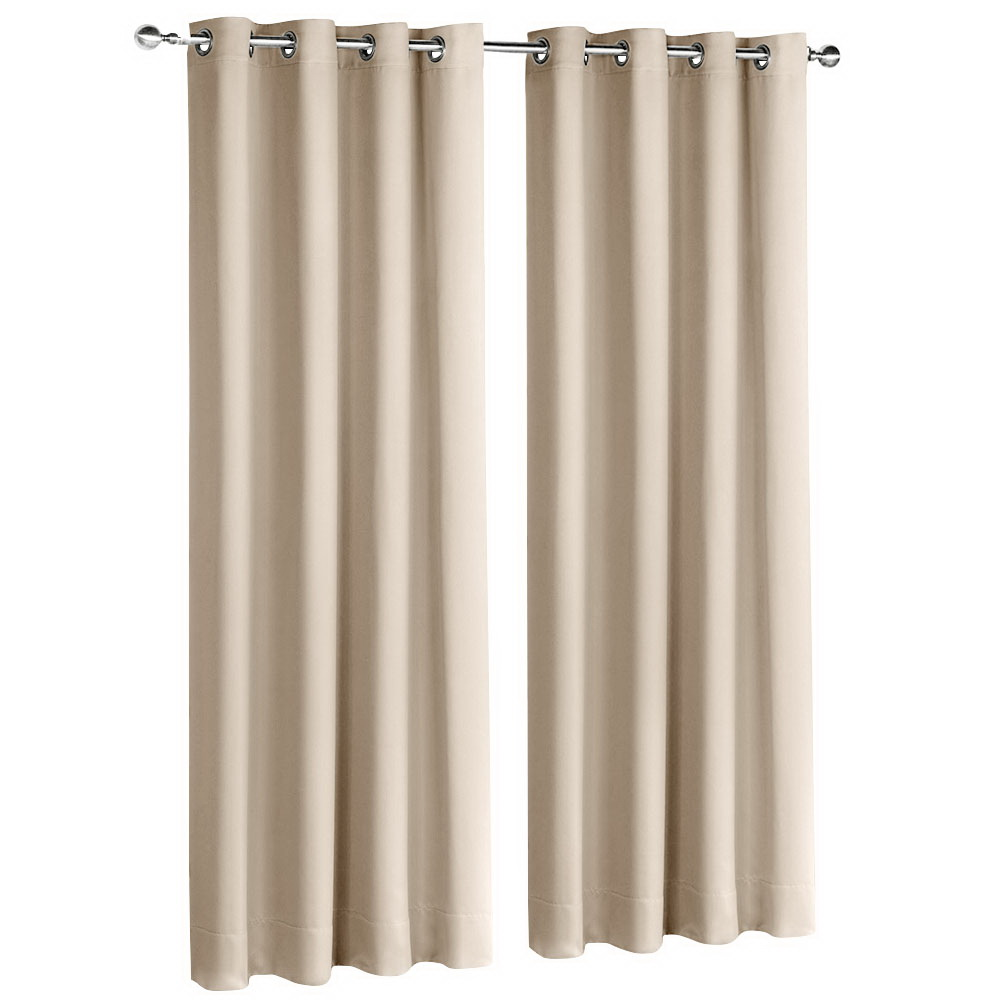 Art Queen 2 Panel 240 x 213cm Block Out Curtains - Latte
