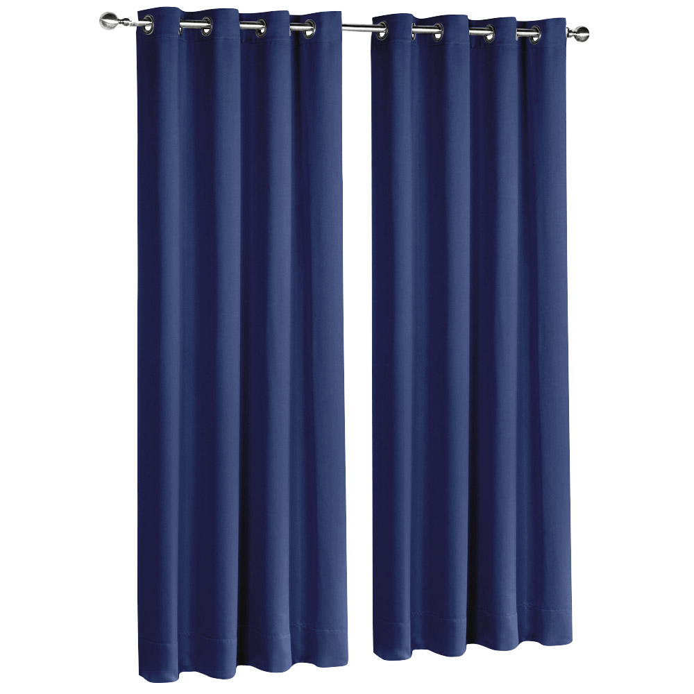 Art Queen 2 Panel 240 x 213cm Block Out Curtains - Navy