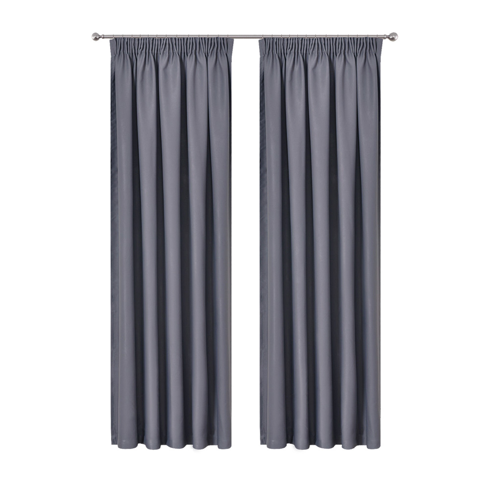 Art Queen 2 Pencil Pleat 240x230cm Blockout Curtains - Dark Grey