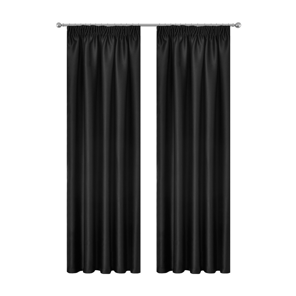 Art Queen 2 Pencil Pleat 300x230cm Blockout Curtains - Black