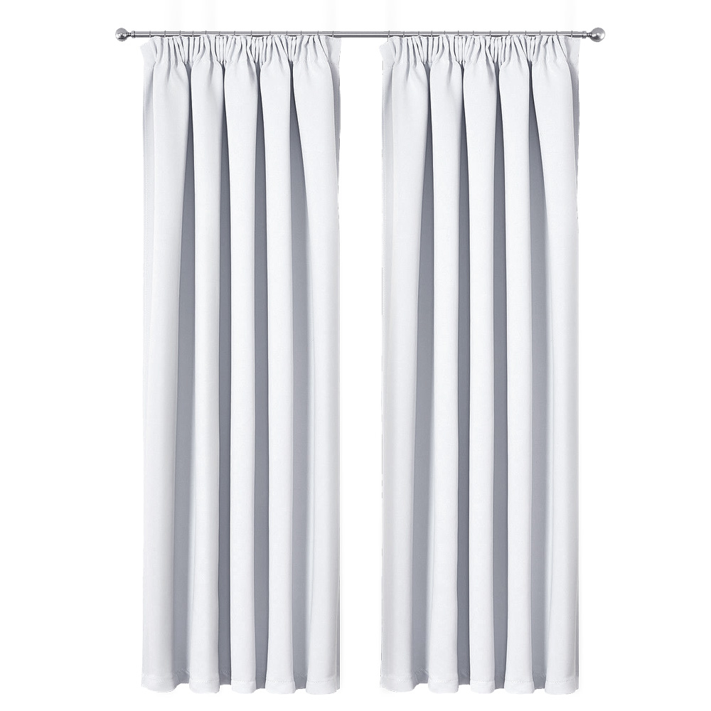 Art Queen 2 Pencil Pleat 300x230cm Blockout Curtains - White