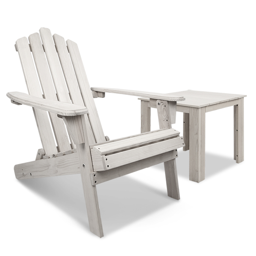 Gardeon 2pcs Adirondack Outdoor Beach Chair Table Set Beige