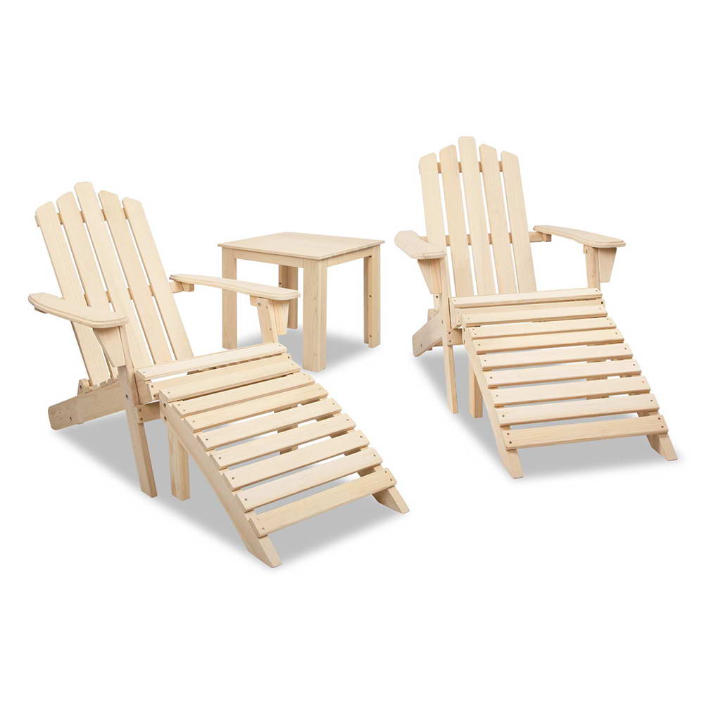 Gardeon 5 Piece Wooden Outdoor Beach Chair and Table Set
