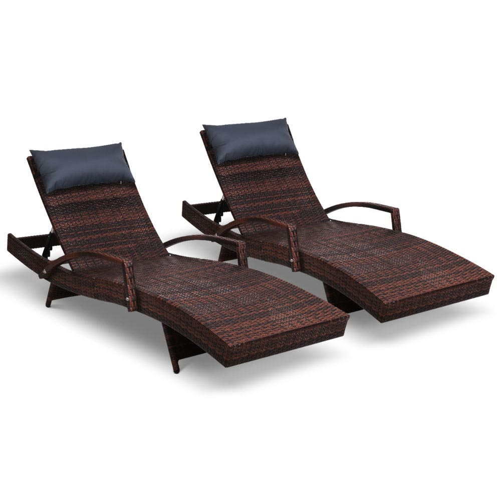 Gardeon Outdoor Sun Lounge Furniture Day Bed Wicker Pillow Sofa Set 2pc Brown
