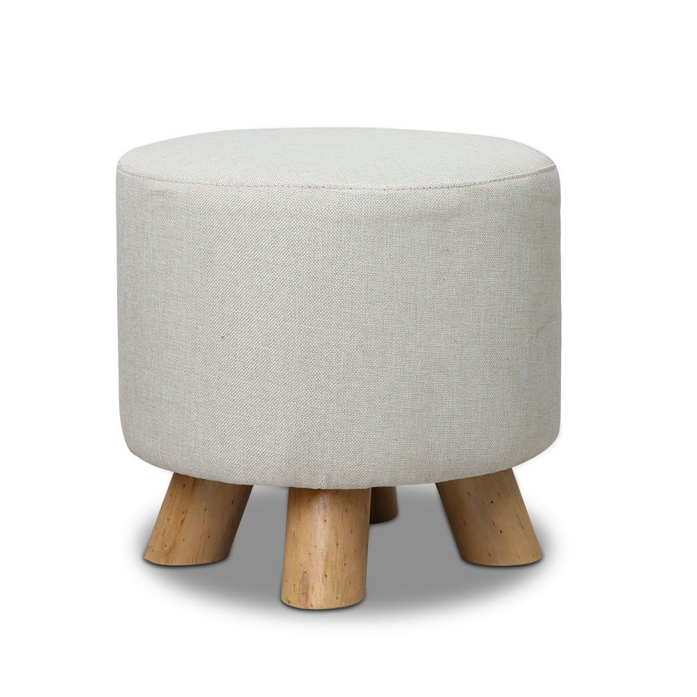 Artiss Fabric Round Ottoman - Light Beige