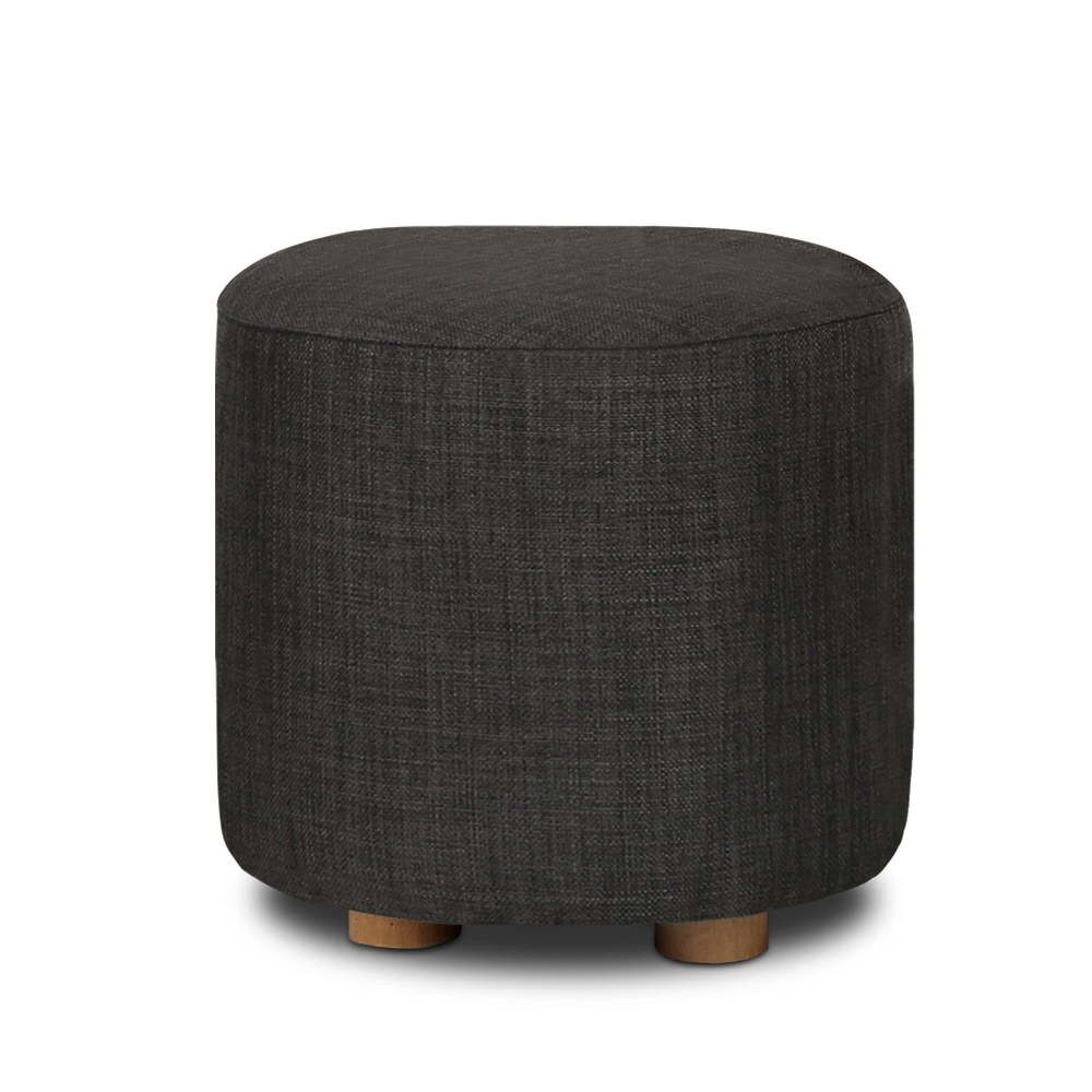 Artiss Pine Wood Round Ottoman Foot Stool - Charcoal