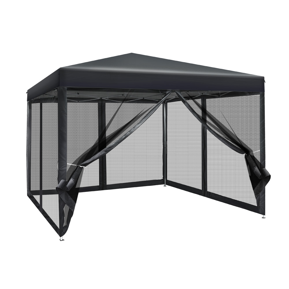Instahut 3x3m Pop Up Gazebo Wedding Marquee Mesh Side Walls Outdoor Canopy Dark Grey