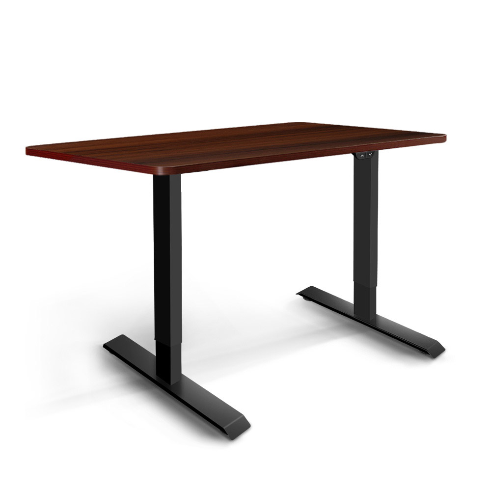 Electric Motorised Height Adjustable Standing Desk - Black Frame with 100cm Walnut Top