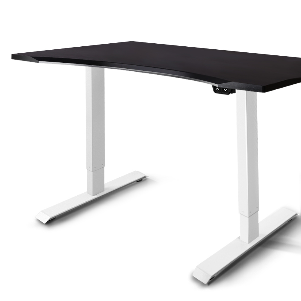 Artiss Roskos I Electric Motorised Height Adjustable Standing Desk Sit Stand Table Curved 140cm