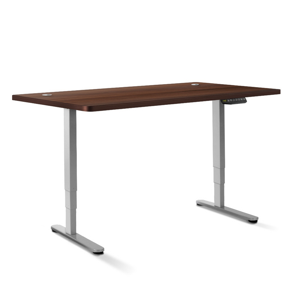 Electric Motorised Height Adjustable Standing Desk - Grey Frame with 160cm Walnut Top