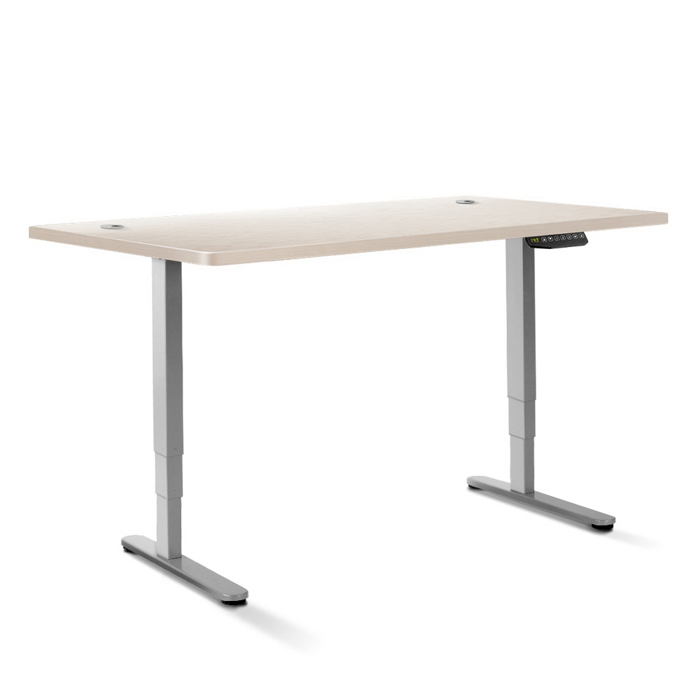 Artiss Height Adjustable Standing Desk Sit Stand Motorised Electric Roskos III Grey White Oak