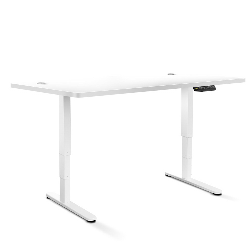 Electric Motorised Height Adjustable Standing Desk - White Frame with 160cm White Top