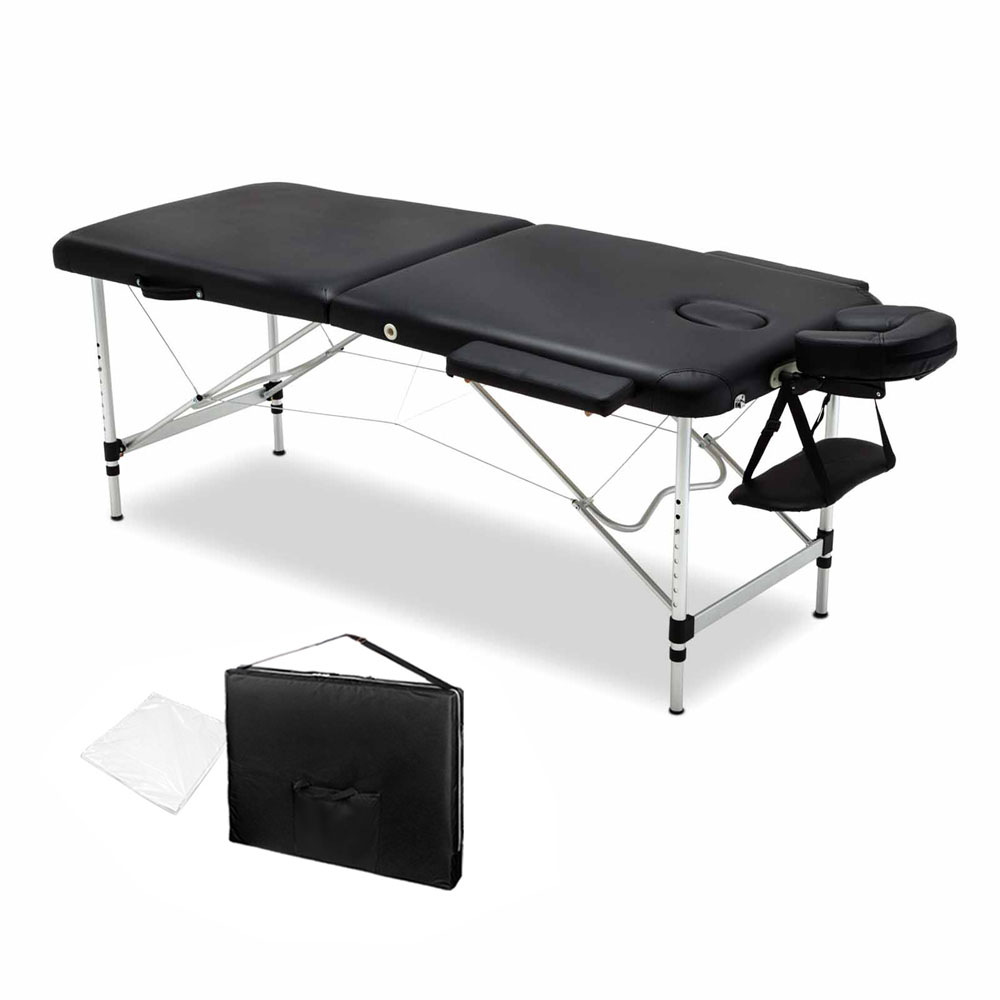 Livemor 2 Fold Portable Aluminium Massage Table - Black