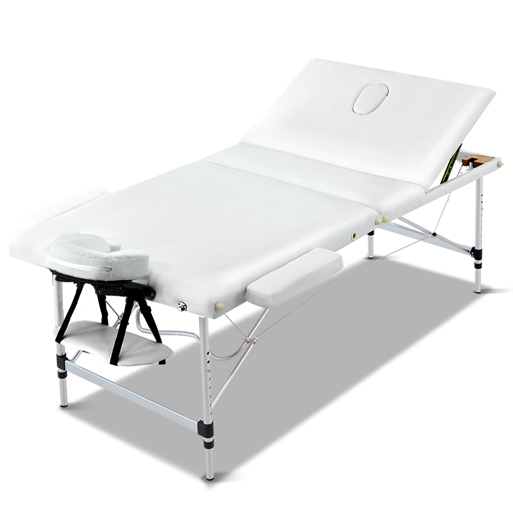 Zenses 80cm Wide Portable Aluminium Massage Table 3 Fold Treatment Beauty Therapy White
