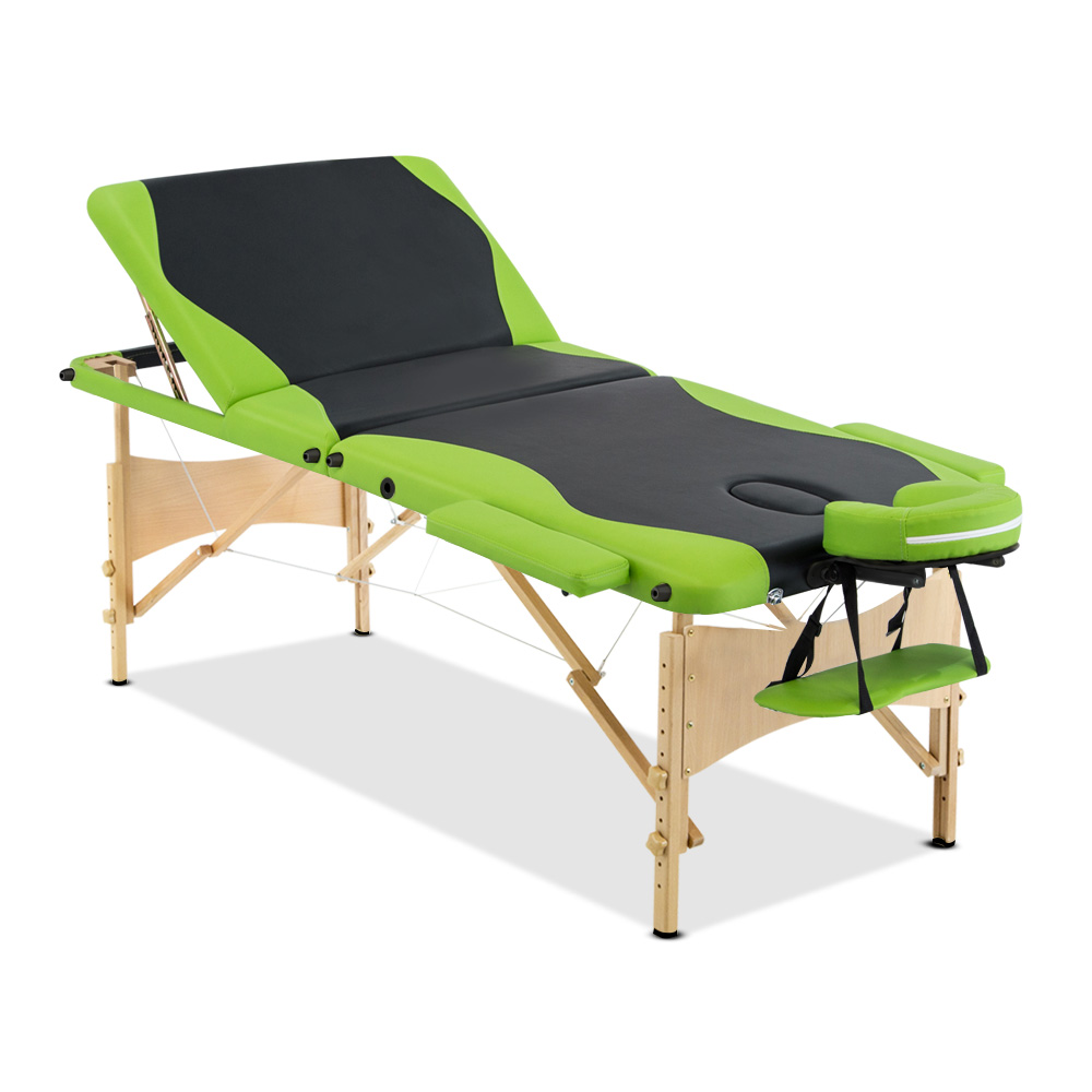 Livemor 3 Fold Portable Wood Massage Table - Black & Lime
