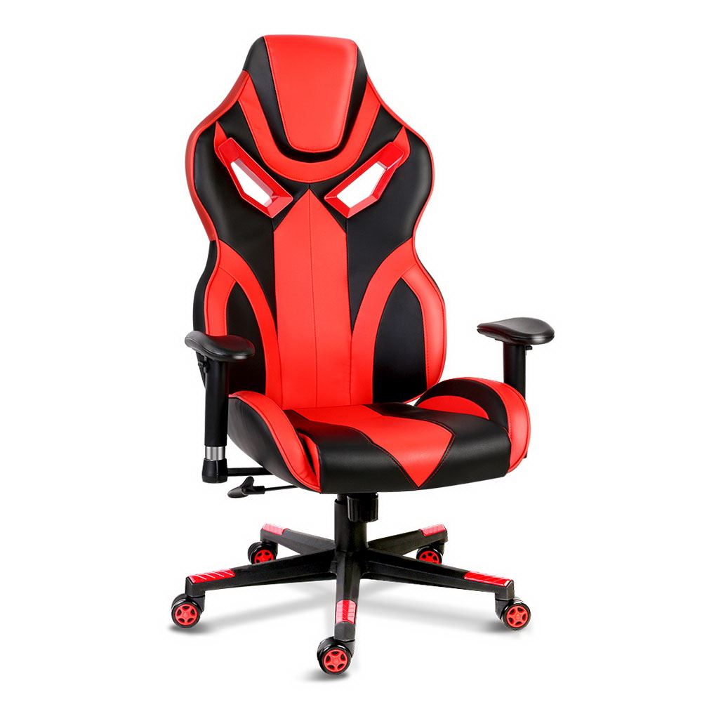 Artiss PU Leather Gaming Style Desk Chair - Black and Red