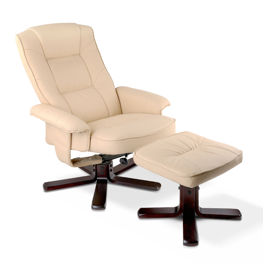 Artiss PU Leather Wood Armchair Recliner - Beige