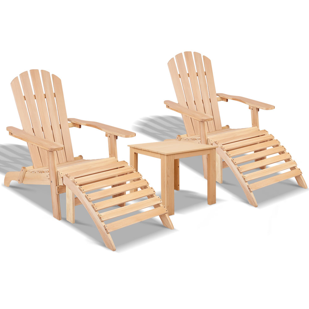 Gardeon 5pc Outdoor Adirondack Beach Chair Garden Table Set Wooden
