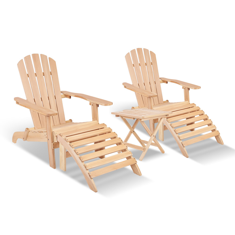 Gardeon 5 Piece Wooden Adirondack Beach Table and Chair Set - Natural Wood