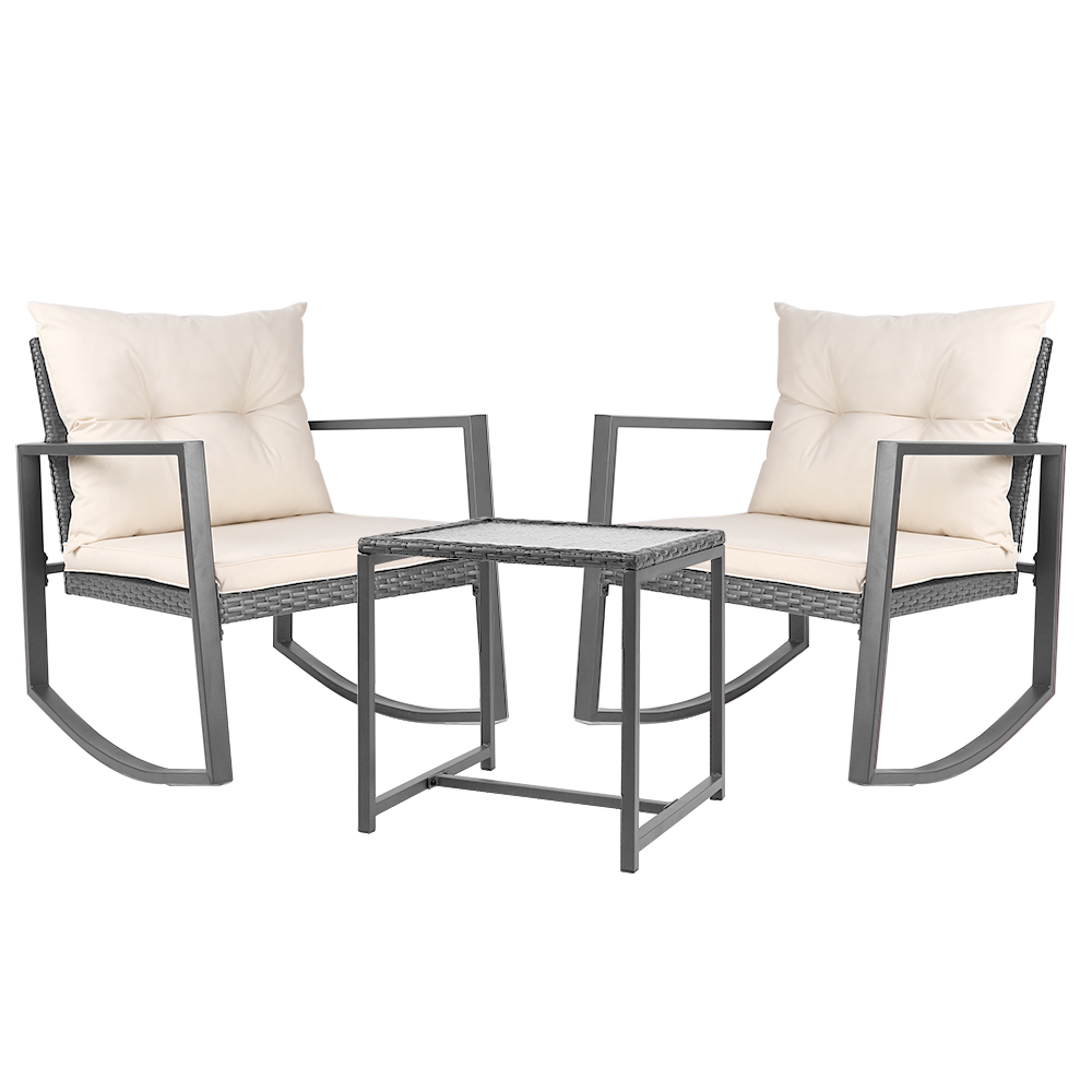 Gardeon Outdoor Chair Rocking Set - Grey