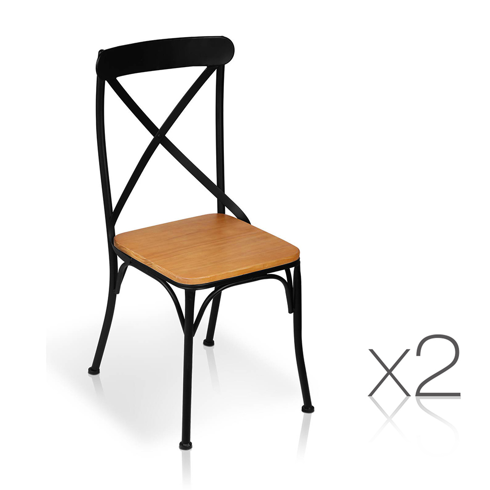 Artiss Set of 2 Metal Dining Chairs - Black