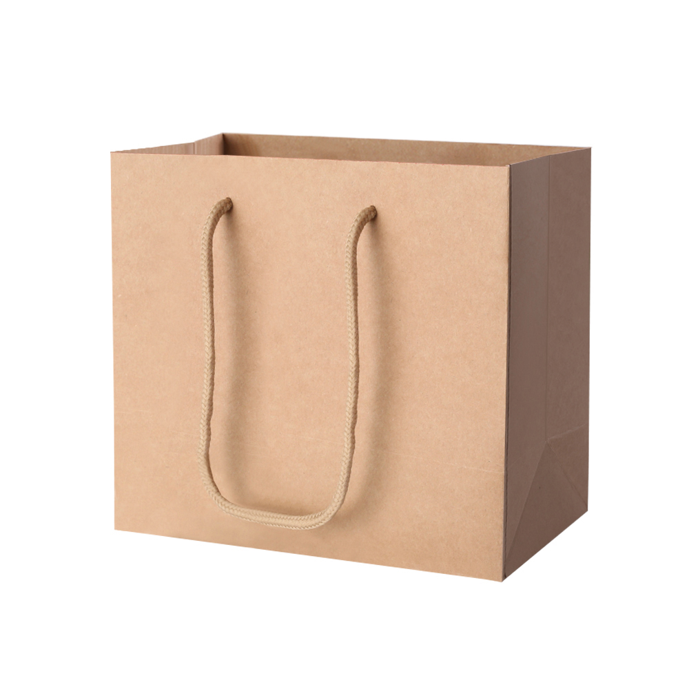 100pcs Kraft Paper Carry Bags Shopping Gift Bag Bulk Brown 220 x 180 x 100mm