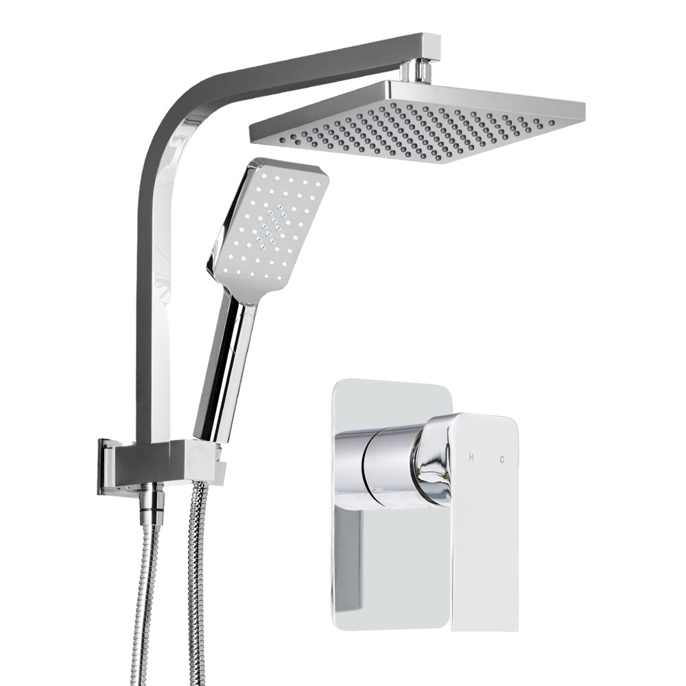 WELS Square 8 inch Rain Shower Head and Mixer Set Handheld Spray Bracket Rail Chrome