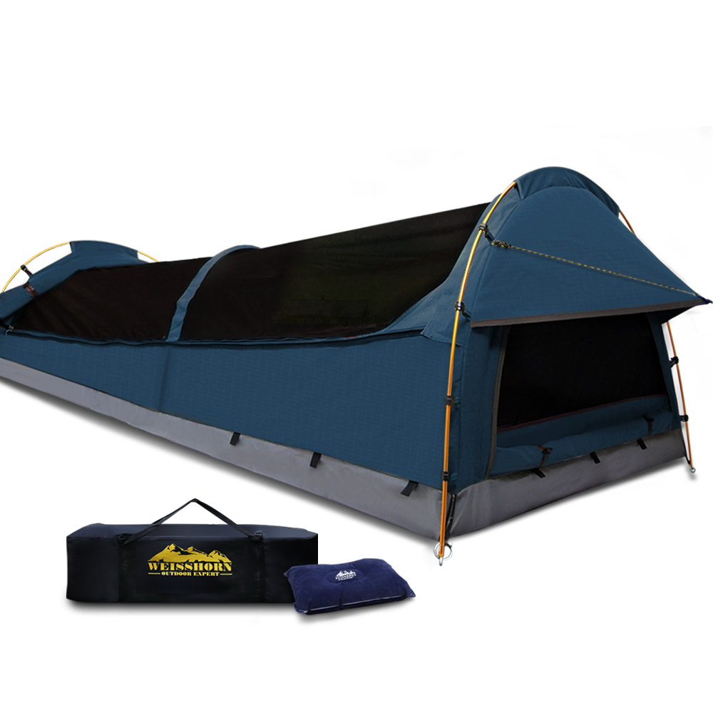 Weisshorn XXL King Single Camping Swag Canvas Tent - Dark Blue