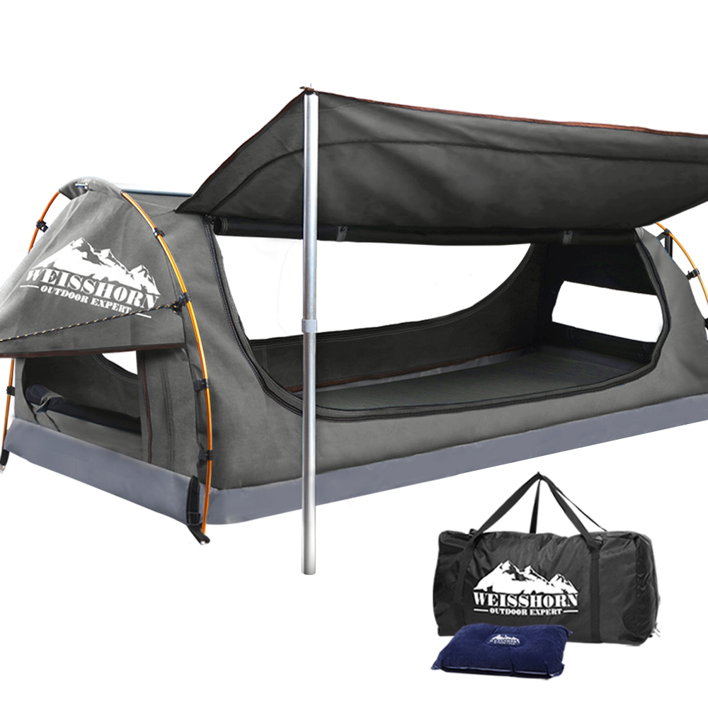 WEISSHORN King Single Camping Swags Canvas Swag Tent with Mattress Grey