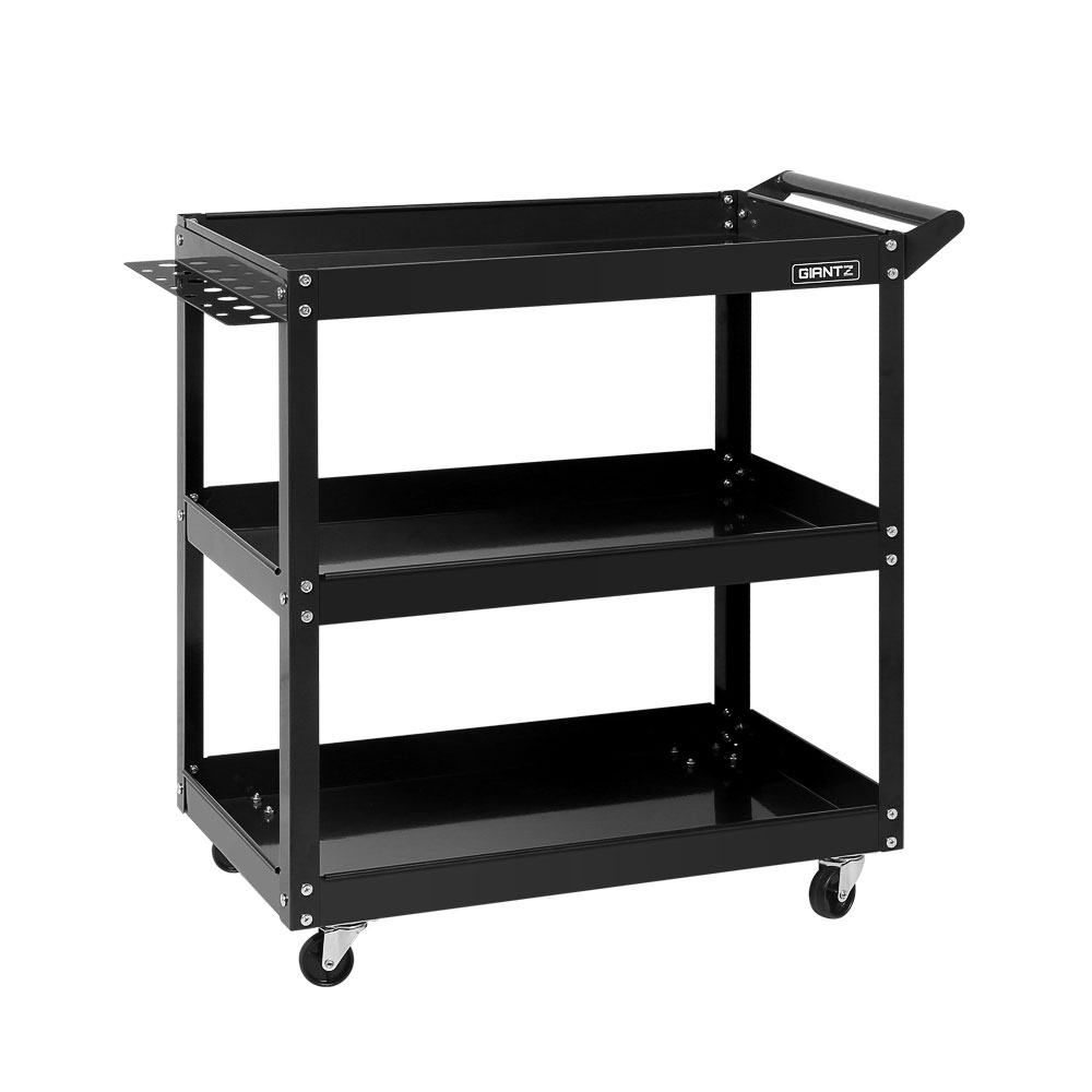 Giantz Tool Cart 3 Tier Parts Steel Trolley Mechanic Storage Organizer Black